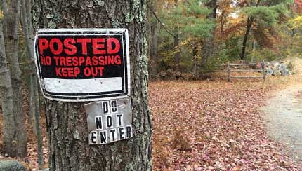No trespassing sign courtesy Norma Sutcliffe